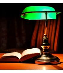 Lámpara de mesa clásica de cristal y metal orientable 90º – Banker – Faro