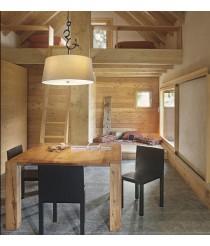 Colgante de techo rústico en marrón óxido y pantalla color arena - Argi - Mantra