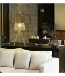 Lámpara de mesa industrial de acero en color blanco 60 cm - Tess - Exo - Novolux