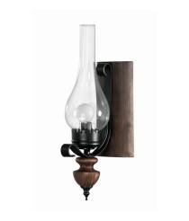 Aplique de pared de madera con cristal tipo candelabro de estilo rústico – Suren – Artesanía Joalpa