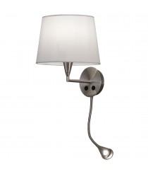 Aplique de pared de metal y algodón en níquel satinado con flexo LED - Lisa - ACB Iluminación