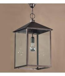Lámpara colgante de estilo rústico en forma de farol de metal y cristal – Temple – Artesanía Joalpa