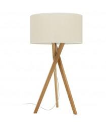Lámpara de pie con trípode de madera y pantalla color tierra o beige – Wood – Exo – Novolux