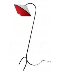 Pie de salón estructura negra con pantalla de cotón en blanco y rojo – Ryan – IDP Lampshades