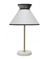 Lámpara de sobremesa con base de mármol y pantalla en cotón blanco – Gatsby – IDP Lampshades