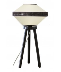 Lámpara de sobremesa estructura de madera con pantalla cotón y bana dos acabados – Mia – IDP Lampshades