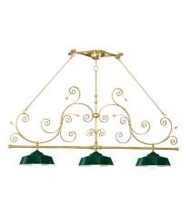 Lámpara de techo con estructura oro y 3 luces acabado verde – Flayer – Artesanía Joalpa