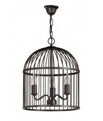 Lámpara de techo de metal marrón óxido tipo jaula – Gavia – Artesanía Joalpa