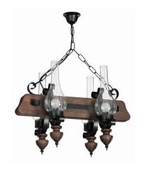 Lámpara colgante de estilo rústico hecha de madera y cristal tipo candelabro – Suren – Artesanía Joalpa