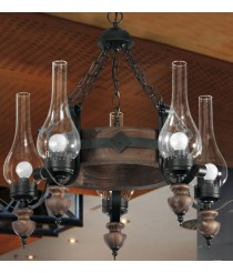 Lámpara colgante circular de estilo rústico hecha de madera con 5 brazos – Cali – Artesanía Joalpa