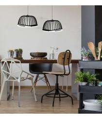 Lámpara colgante efecto jaula disponible en 2 acabados y 3 medidas – Celeste – Mantra Iluminación