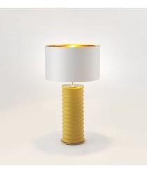 Lámpara de mesa sobre base de cerámica amarilla acabado oro brillo – Taro – Aromas