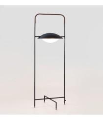 Pie de salón estructura de cuero y luminaria de vidrio soplado – Wong – Aromas