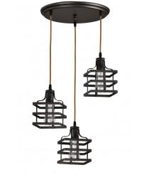 Lámpara de techo con 3 pantallas a diferente altura – Canel – Artesanía Joalpa