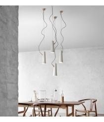 Lámpara colgante de cerámica y madera LED de acabado blanco 3000K – Renaud – Plussmi
