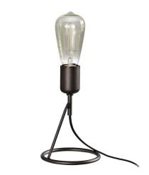 Lámpara de sobremesa con estructura marrón oscuro y base circular – Yami – Artesanía Joalpa