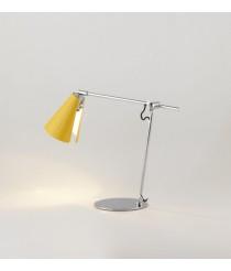 Lámpara de mesa de acero acabado cromo y pantalla amarilla – Lua – Aromas