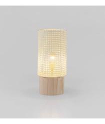Lámpara de mesa con pantalla de ratán natural y base de madera – Stan Wood – Aromas