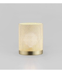Lámpara de mesa acabado oro mate con estructura de ratán natural Ø 30 cm – Stan – Aromas