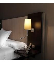 Aplique de pared con flexo LED para la lectura y pantalla tela negra - Basic - Pujol Iluminación