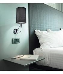 Aplique de pared en acero níquel mate con pantalla de tela negra - Eve - Pujol Iluminación