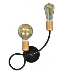 Aplique de pared acabado negro con 2 luces – Kelan – Artesanía Joalpa