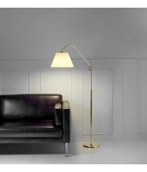 Lámpara de pie de latón y acero en acabado dorado y ajustable en altura - Americana - Pujol Iluminación
