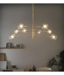 Lámpara colgante decorativa acabado oro con 8 luces – Atom – Aromas