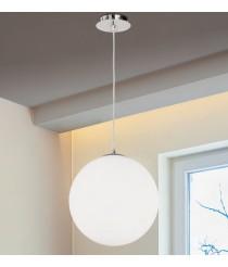 DES-Lámpara colgante de metal y cristal en opal y cromo Ø 32 cm - Cleo - ACB Iluminación