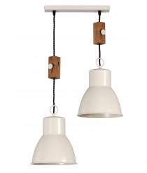Lámpara colgante en hierro y madera - Artesanía Joalpa