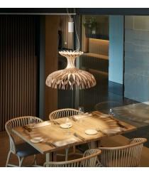 Lámpara colgante LED de madera natural con sistema regulable Triac en 3 tamaños - Dome - Bover