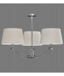 Lámpara de suspensión con 3 luces en metal cromo y pantalla de algodón - Elba - ACB Iluminación