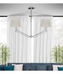 Lámpara de suspensión de 2 luces en metal cromo y pantalla de algodón - Elba - ACB Iluminación