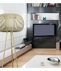 Elegante lámpara de pie con base de madera y pantalla textil color piedra - Esteno - IDP Lampshades