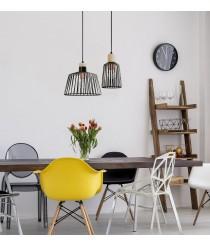 Moderno colgante vintage de acero y madera - Baguet - Exo - Novolux