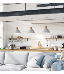 Lámpara colgante industrial de aluminio y roble – Lirica – Exo – Novolux