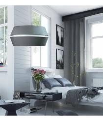Lámpara de suspensión con pantalla de 2 piezas en material chins gris en 2 tamaños - Ingrid - IDP Lamphades