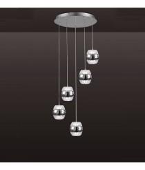 Colgante de techo LED de cromo y cristal con 5 luces - Khalifa - Mantra