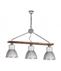 Lámpara industrial en madera natural y hierro 3 luces – Domus – Artesanía Joalpa