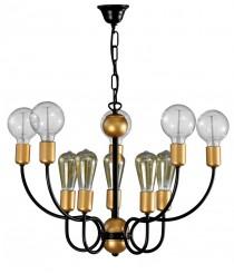 Lámpara colgante con 10 brazos acabado oro y negro – Kelan – Artesanía Joalpa