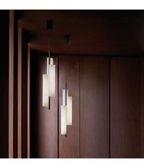 Colgante de techo LED con pantallas de madera natural en varios colores – Black Note – Lzf