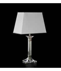 Lámpara de mesa elegante de cromo con pantalla blanca – Tomás y Saez