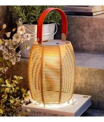 Lámpara de sobremesa portátil y recargable con pantalla de hilo de algodón beige – Tanit – Bover
