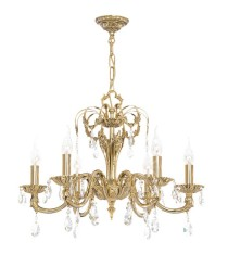 Brass pendant lamp with 6 lights and Asfour crystals with silver finished - Roma - Riperlamp