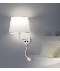 Aplique de pared de metal y algodón en color blanco con flexo LED - Lisa - ACB Iluminación
