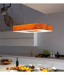 Lámpara de techo de madera natural regulable bluethooth/control remoto 11 colores - Cuad - LZF