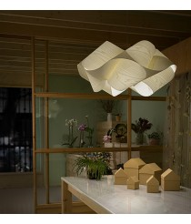 Lámpara colgante de madera natural en color blanco 54 cm - Swirl - Lzf - Disponibilidad inmediata