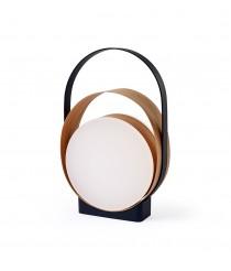 Lámpara de mesa LED de madera de cerezo natural con acabado negro 3000K – Loop – Lzf