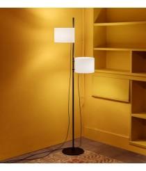 Lámpara de pie de acero en 2 acabados y 2 pantallas de poliéster – Twain – Milan