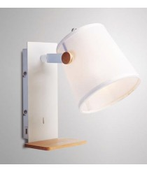 Aplique de pared de madera y metal blanco con USB orientable - Nórdica II - Mantra